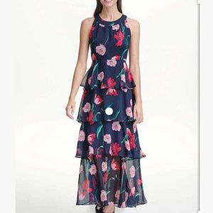 Tommy Hilfiger Printed Chiffon Tiered Maxi Dress